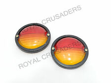 NEW MASSEY WILLYS JEEP REAR BRAKE TAIL LIGHT LENS PAIR PVC RED AMBER #G192 (C921