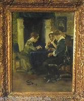"""Wilhelm Schreuer """"Interieur mit zwei Damen und einem Edelmann am Tisch"""""""