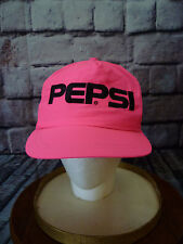 Vintage Pepsi Cola Retro 80s Neon Pink Snapback Baseball Cap Nylon Hat NOS