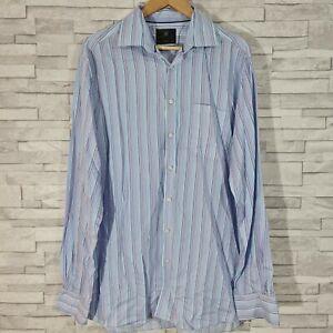 """M&S Men's Shirt 42"""" Chest / 16.5"""" Neck Blue/Pink Striped Pure Cotton"""