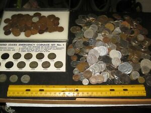vintage junk drawer lot,coins,wheat pennies,war nickels,Indian head,foreign,old