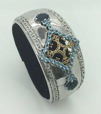 Sterling Silver 925 Blue Topaz Cuff Bangle Womens Gemstone Bracelet 7 Inches