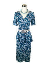 LEONA EDMISTON Dress - Vintage Style Floral Ruffle Peplum Wrap Blue White - XS/8