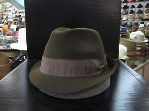BORSALINO OLIVE GREEN FUR FELT TRILBY DRESS HAT (READ DESCRIPTION SIZE)