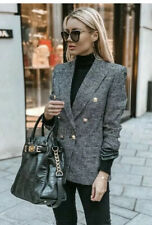 ZARA Black and White Houndstooth Double Breasted Blazer with Gold Buttons XL