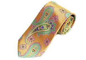 Lord R Colton Masterworks Tie - Ankara Gold Jewel Paisley Silk Necktie - New