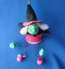 "7"" puffy kitchen Halloween witch flying BOO message bobbles from spring"