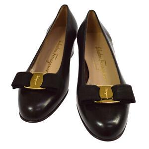 Salvatore Ferragamo Vara Bow Shoes Pumps Dark Brown 6 2/1 C DR 34169 38 NR14020i