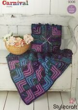 Stylecraft Carnival Chunky Square Blanket Throw & Cushion Crochet Pattern 9306