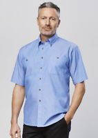 Biz Collection Men's Wrinkle Free Chambray Blue Short Sleeve Shirt 100% Cotton