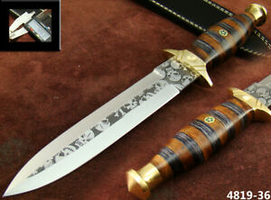 ALISTAR 11.9 HANDMADE ACID ETCH STAINLESS STEEL HUNTING DAGGER KNIFE 4819-36
