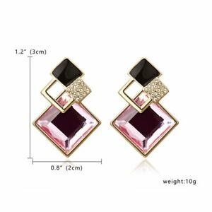 Fashion Sweet Pink Leather Crystal Earrings Women Statement Drop Dangle Ear Stud