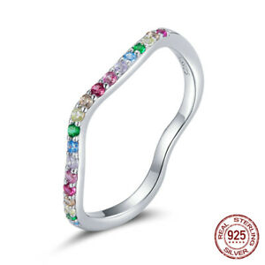 925 Sterling Silver Pave Setting Colorful Band Ring Stackabel Cute Jewelry Girl