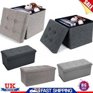 New Folding Ottoman Storage Box Pouffe Seat Foot Stool Storage Bench Linen Home
