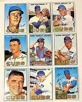 Lot of 9 1967 Topps  CHICAGO CUBS vintage cards Glenn Beckert, Randy Hundley