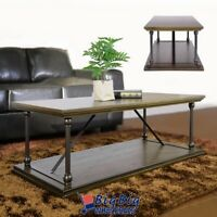 Coffee Table 2-Tier Cocktail Table Storage Shelf Wood Living Room Home Furniture