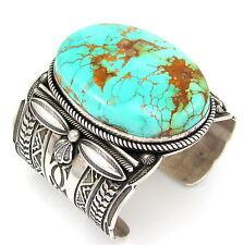 Huge GARY REEVES Navajo Handmade Sterling Silver Turquoise Cuff Bracelet   G