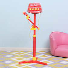 Kids Karaoke Disco Machine Toy Standup Microphone Play Set MP3 Play Light Red