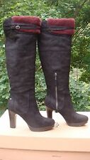 NIB UGG Ophira Tall Over the Knee Black Suede Boots Red Fur Trim WOMEN SIZE 9.5