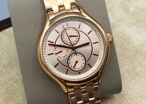 Fossil Riley Multi Function Rose Gold Finish Watch with Crystals, All Stainless