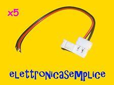 connettore striscia led 5050 2 pin 10mm con cablaggio a saldare 5 pezzi (C100)