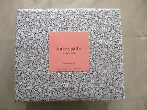 NEW 4pc Kate Spade Full Sheet Set Cottage Chic Petite Flowers Charcoal & White