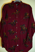 Vintage Polo Ralph Lauren Equestrian All Over Print Horses Jockeys Size Large