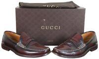 Gucci Mens Camaleon Chardonnay Polished Leather Penny Loafer Dress Shoes Sz 9