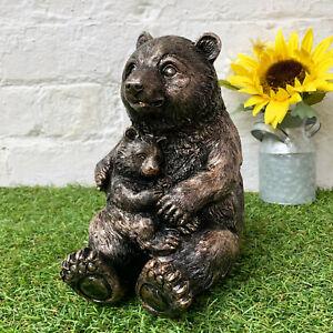 Vintage Garden Ornament Animal Figurine Bronze Effect Cute Panda Bear & Cub Gift