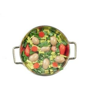 Dolls House Vegetables Cooking in Silver Frying Pan Miniature Kitchen Accessory