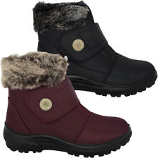 LADIES WOMENS FUR LINED WARM WINTER BOOTS ANKLE STRAP FASTENING GRIP SOLE SHOES