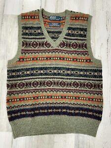 Polo Ralph Lauren Wool Fair Isle Sweater Vest Size M