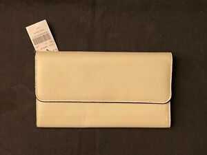 Valextra $1020 Continental Leather Wallet Pergamina / Powder / Ivory color, New
