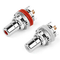 1Pair RCA Female Socket Chassis Connector Rhodium Plated Copper Jack A2
