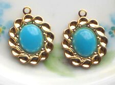 #1497J Vintage Charms Drop Dangle Drops Glass Pendant Milk Blue Gold Plated NOS