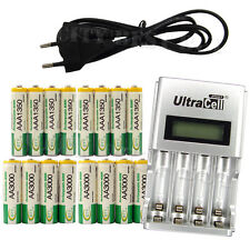 8 AA + 8 AAA 1350mAh 3000mAh NiMH 1.2V Rechargeable Battery EU LCD Charger BTY