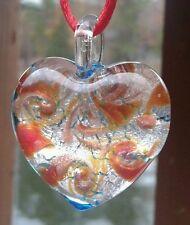 Authentic Italian Murano Glass Heart Pendant Jewelry from Italy Hand Blown NEW