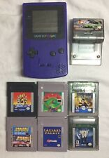 Gameboy Color Grape Purple w/ 7 Games - All Tested and Working