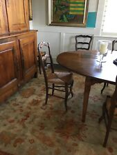 Genuine antique French Country Set of 4 Rush Seat Ladder Back Dining Chairs