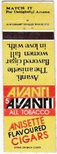 VINTAGE MATCHBOOK COVER - AVANTI ANISETTE FLAVORED CIGARS - ALL TOBACCO