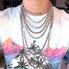 Hip Hop Iced Out Tennis Chain Choker 18K White Yellow Rose Gold