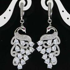 Stunning Long Peacock Shape White Sapphire Tourmaline Gift Silver Earrings