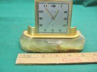 Vintage Benrus Swiss Alarm Clock Onyx Base for Parts or Repair