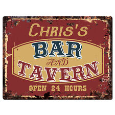 PPBT0096 CHRIS'S BAR and TAVERN Rustic Tin Chic Sign Home Store Decor Gift