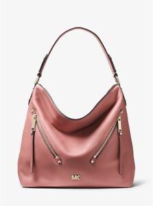 NWT Michael Kors Evie Large Pebbled Leather Double Zipper Hobo/Shoulder Bag.