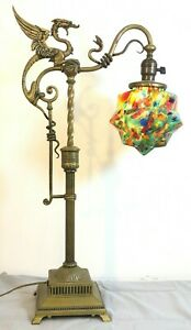 1920s Bronze Large Winged Griffin Art-Deco Extendable Table Lamp - Magnificent!