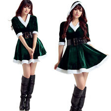 Womens Xmas Dress Santa Costume Adult Mrs Miss Claus Outfit Christmas Fancy Sexy