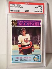 1975 Topps Denis Potvin Graded PSA NM-MT 8 Hockey Card #287 NHL Collectible