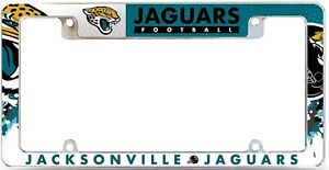 Jacksonville Jaguars EZ View All Over Chrome Frame Metal License Plate Tag Cover