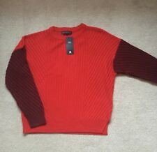 M&S Collection Two Tone Red Cable Knit Jumper Size: Medium (12)